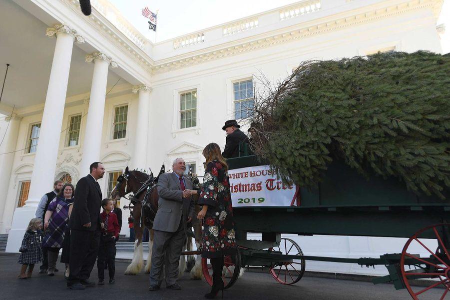 Melania Trump reçoit le sapin de Noël de la Maison-Blanche, le 25 novembre 2019.