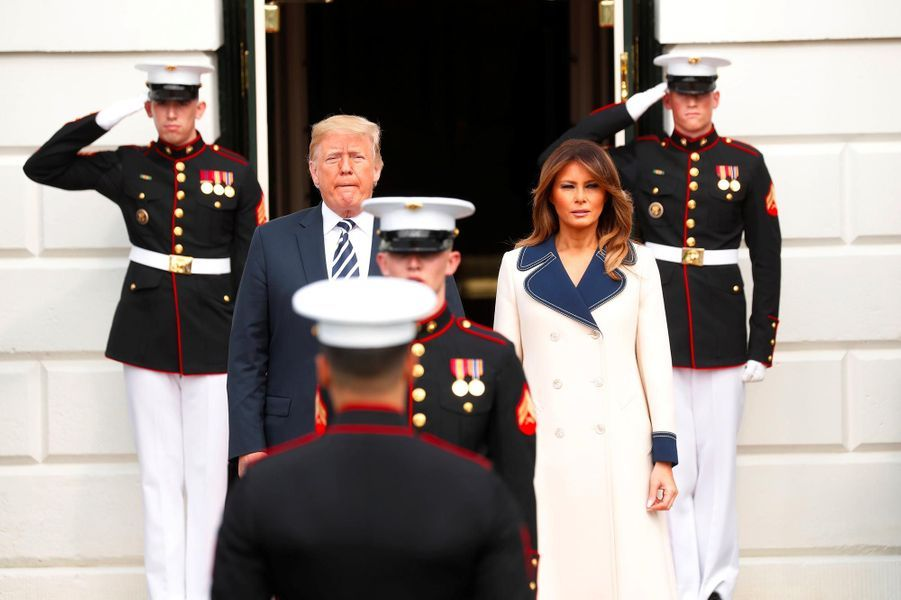 Donald et Melania Trump ont reçu le président polonaisAndrzej Duda et son épouse Agata Kornhauser-Duda à la Maison-Blanche, le 18 septembre 2018.