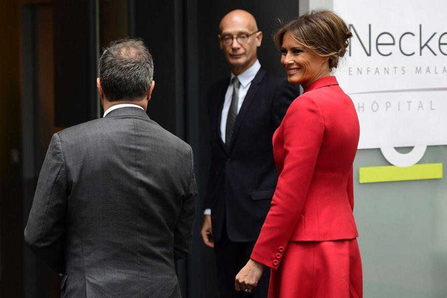Melania Trump à l'hôpital Necker, à Paris, jeudi