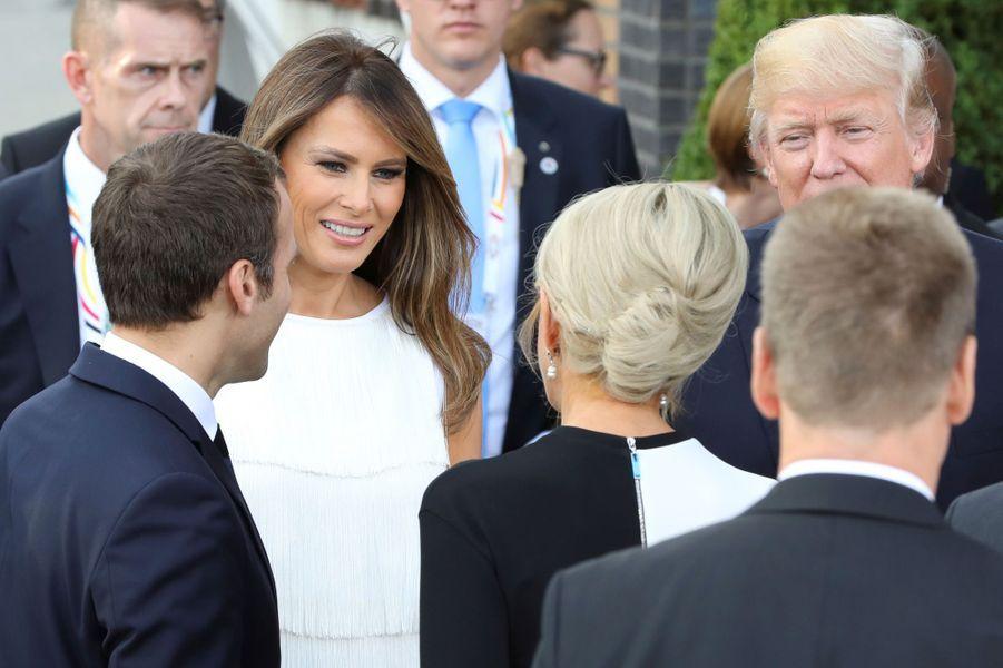 Melania Trump et Brigitte Macron à Hambourg, le 7 juillet 2017.