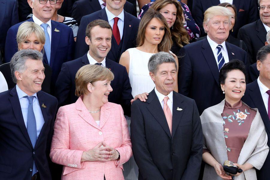 Brigitte Macron, Emmanuel Macron,Melania Trump et Donald Trump à Hambourg, le 7 juillet 2017.