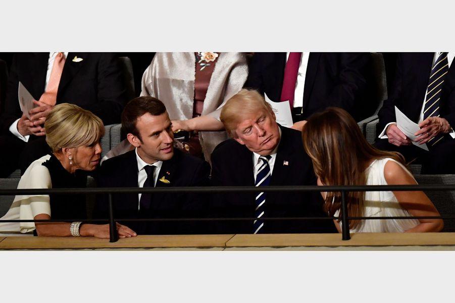 Brigitte Macron, Emmanuel Macron,Donald Trump etMelania Trump à Hambourg, le 7 juillet 2017.