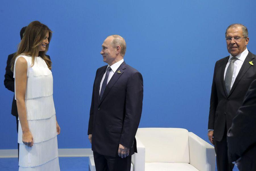 Melania Trump et Vladimir Poutine à Hambourg, le 7 juillet 2017.