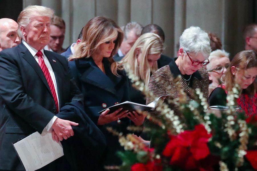 Donald et Melania Trump à la cathédrale nationale de Washington, le 24 décembre 2018.