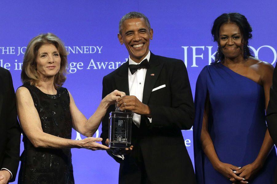 Caroline Kennedy,Barack Obama et Michelle Obama à Boston, le 7 mai 2017.