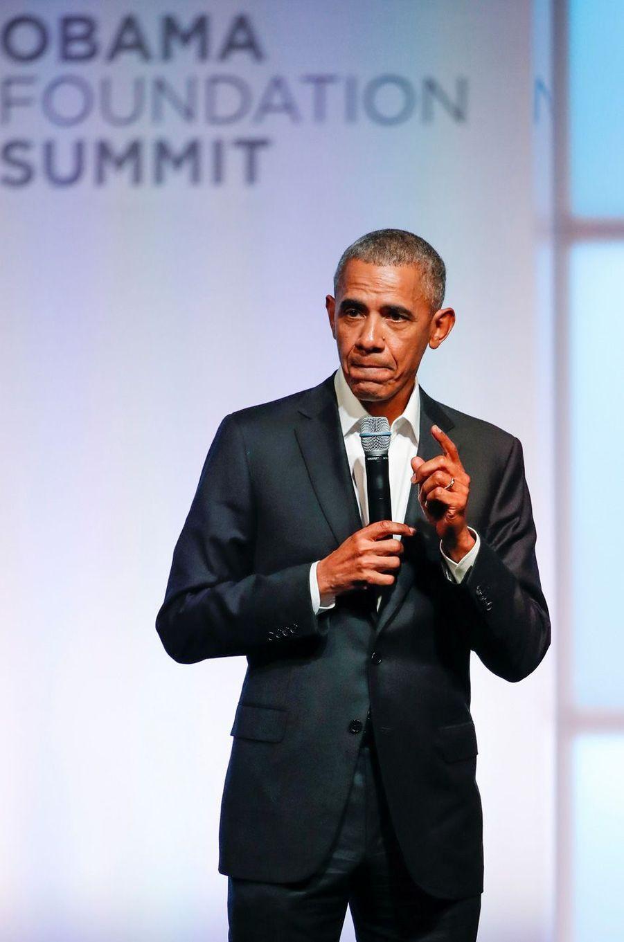 Barack Obama au sommet de l'Obama Foundation à Chicago, le 31 octobre 2017.