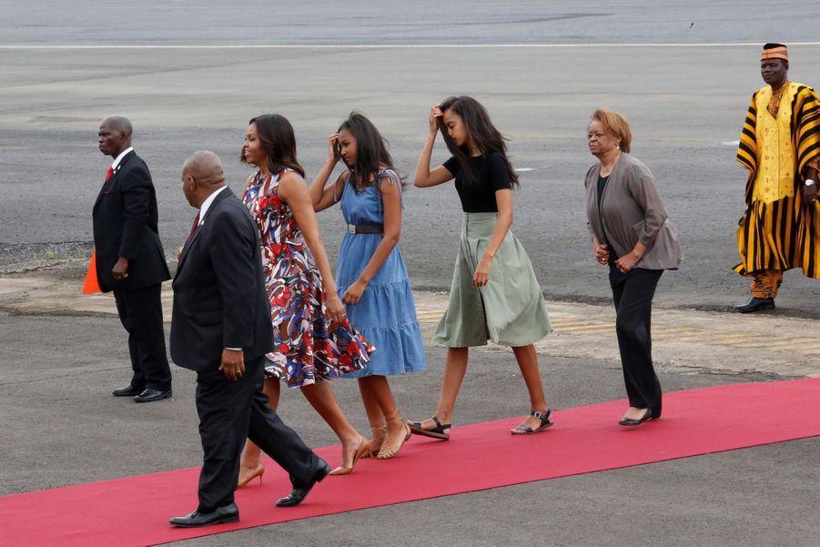 Michelle Obama à son arrivée à l'aéroport