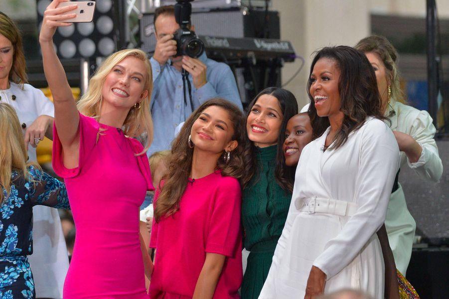 Karlie Kloss, Zendaya, Freida Pinto et Michelle Obama à New York, le 11 octobre 2018.