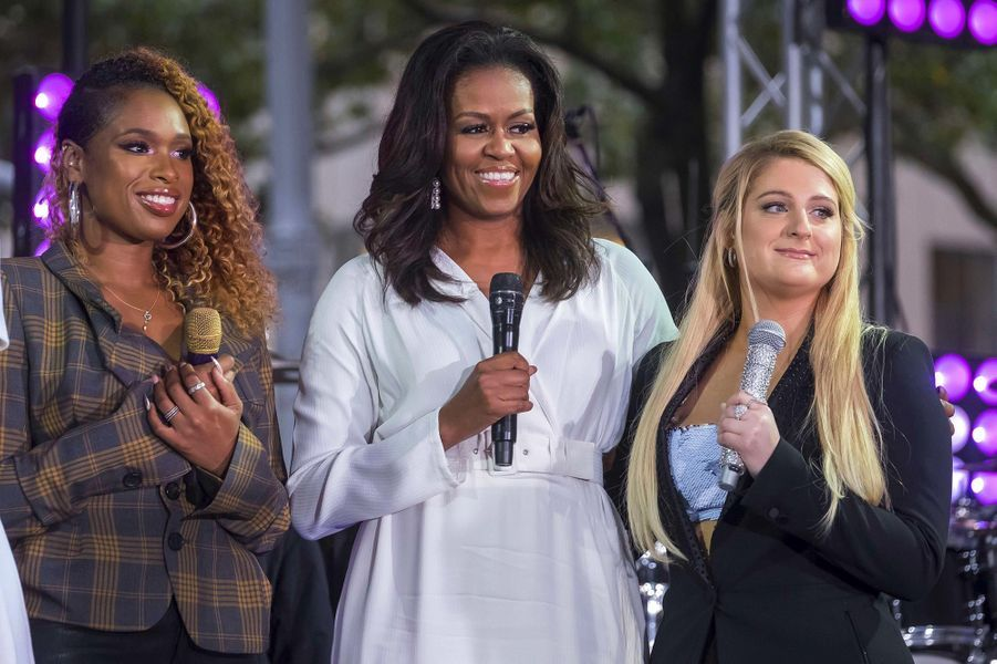 Jennifer Hudson, Michelle Obama et Meghan Trainor à New York, le 11 octobre 2018.