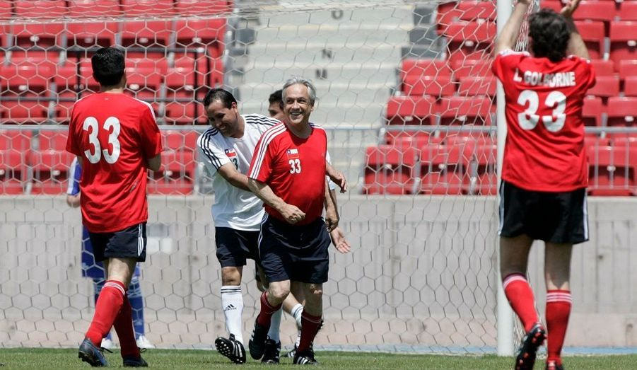 Claudio Acuna et le président Sebastian Pinera.