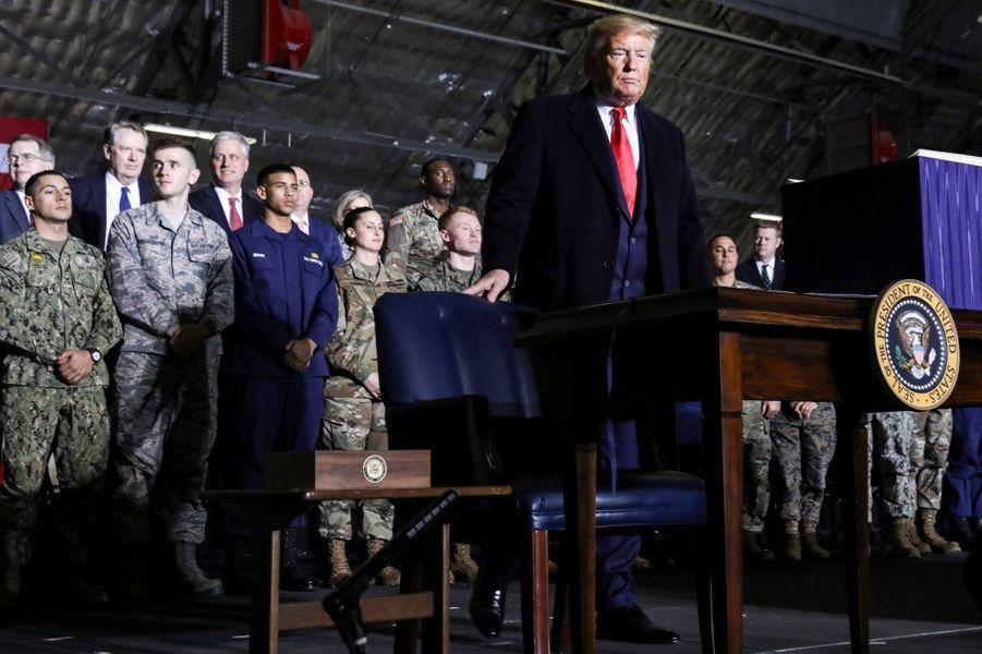 Donald Trumpsur la base militaire Andrews, le 20 décembre 2019.