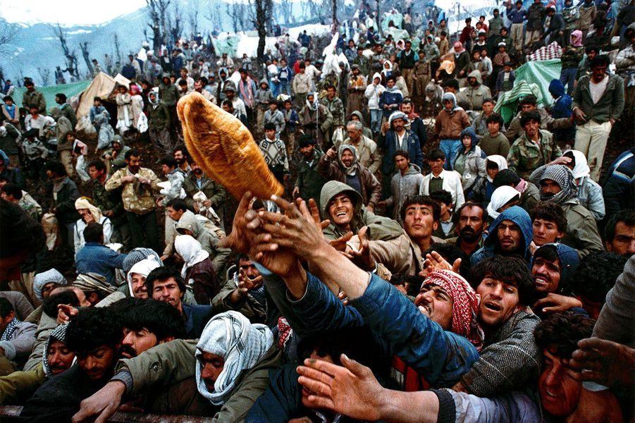 1991, des réfugiés kurdes implorent de l'aide humanitaire à la frontière entre la Turquie et l'Irak.