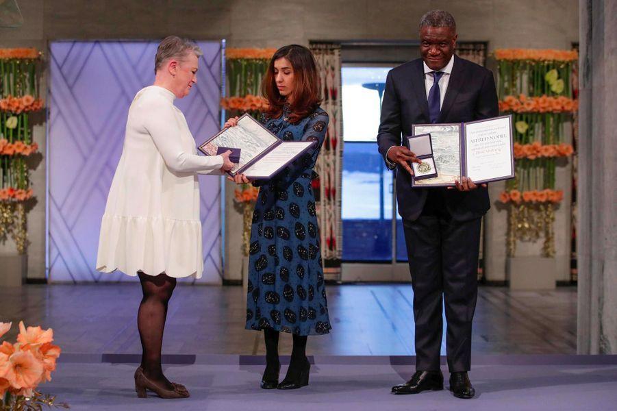 Nadia Murad etDenis Mukwege à Oslo, le 10 décembre 2018.