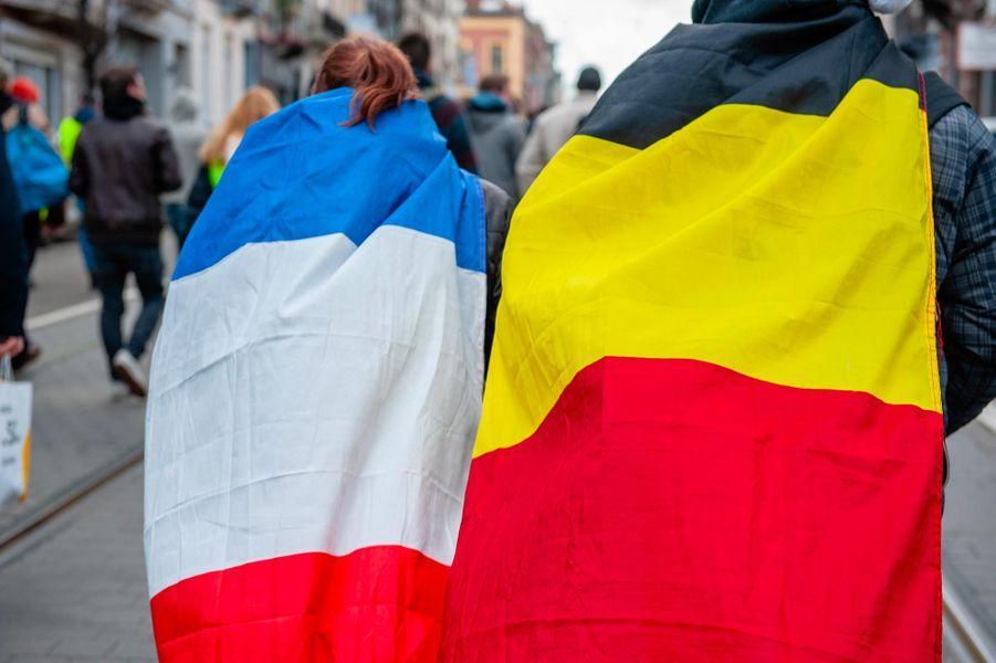 """Manifestation de """"gilets jaunes"""" à Bruxelles, en Belgique, le 22 décembre 2018."""