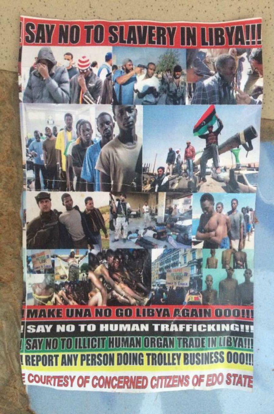 Tract distribué par Lucky pour convaincre les futurs migrants de ne pas partir.