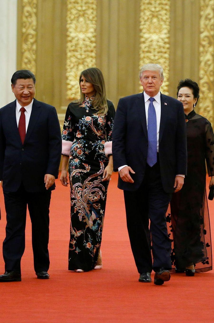 Melania et Donald Trump ont assisté à un dîner d'Etat à Pékin, le 9 novembre 2017.