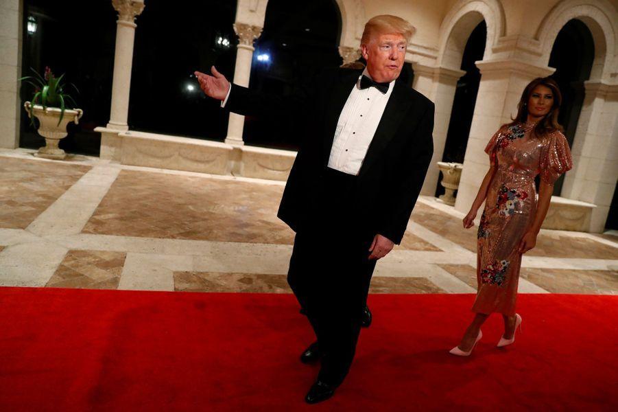 Donald et Melania Trump à Mar-a-Lago, le 31 décembre 2017.