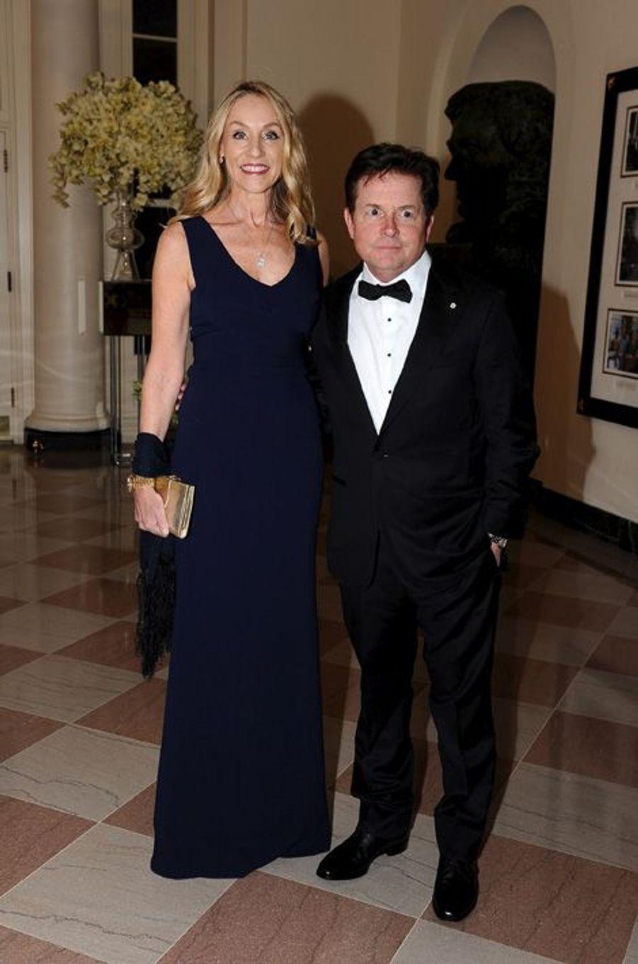 Michael J. Fox et son épouse Tracy Pollan assistent au dîner d'Etat donné pour la venue de Justin Trudeau à la Maison Blanche le 10 mars 2016