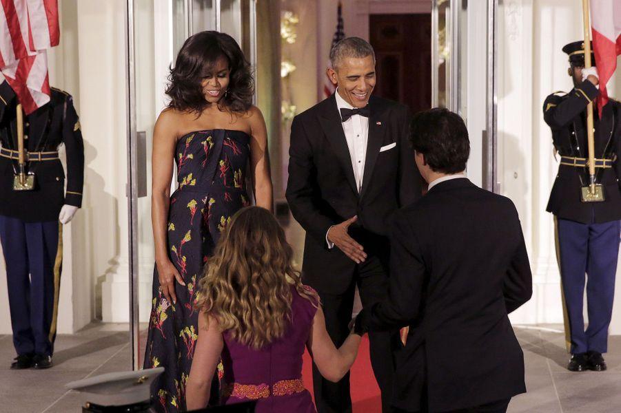 Michelle Obama et Barack Obama accueillent Sophie Grégoire-Trudeau et Justin Trudeau à la Maison Blanche le 10 mars 2016