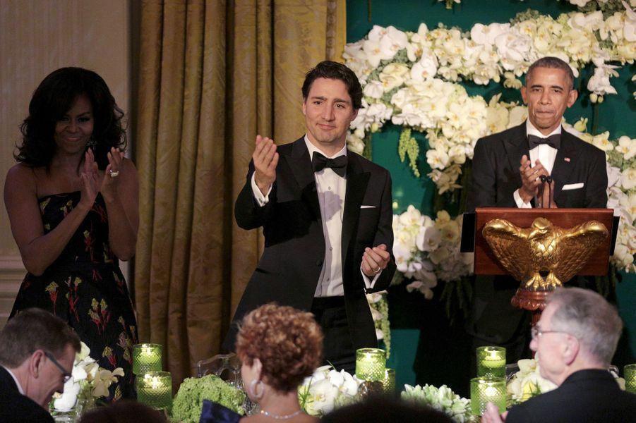 Michelle Obama, Justin Trudeau et Barack Obama à la Maison Blanche le 10 mars 2016
