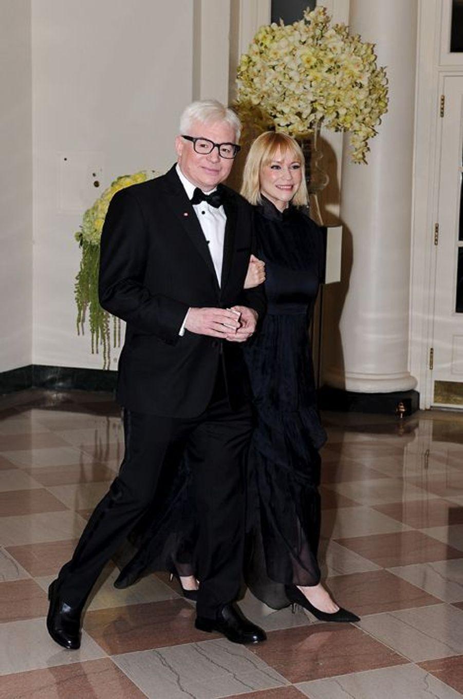 Mike Meyers et son épouse Kelly Tisdale assistent au dîner d'Etat donné pour la venue de Justin Trudeau à la Maison Blanche le 10 mars 2016