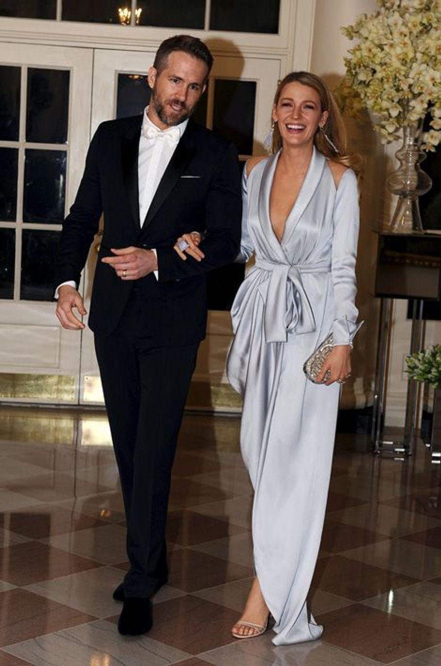 Ryan Reynolds et Blake Lively assistent au dîner d'Etat donné pour la venue de Justin Trudeau à la Maison Blanche le 10 mars 2016