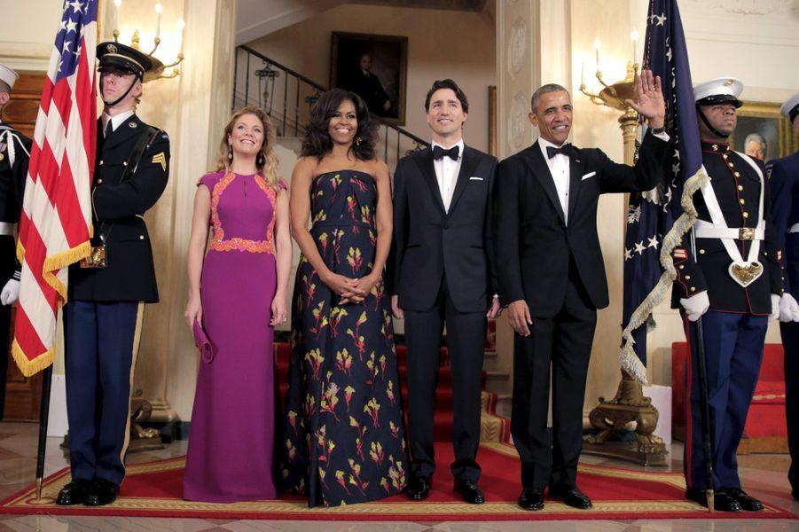 Sophie Grégoire-Trudeau, Michelle Obama, Justin Trudeau et Barack Obama à la Maison Blanche le 10 mars 2016