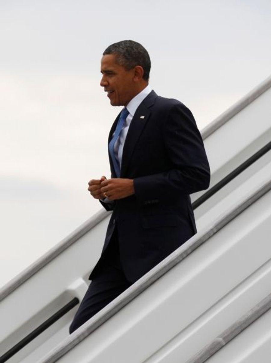 Barack Obama, à son arrivée à Nice, jeudi matin.