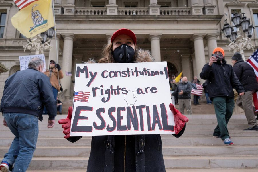 Manifestation contre le confinement à Lansing, dans le Michigan, le 15 avril 2020.