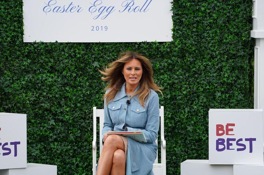 Melania Trump pour la fête de Pâques à la Maison-Blanche, le 22 avril 2019.
