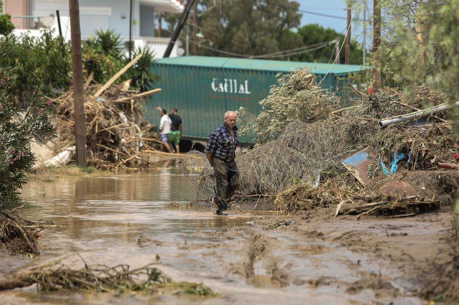 Un homme dans une rue inondée sur l'île d'Eubée en Grèce le 9 août 2020