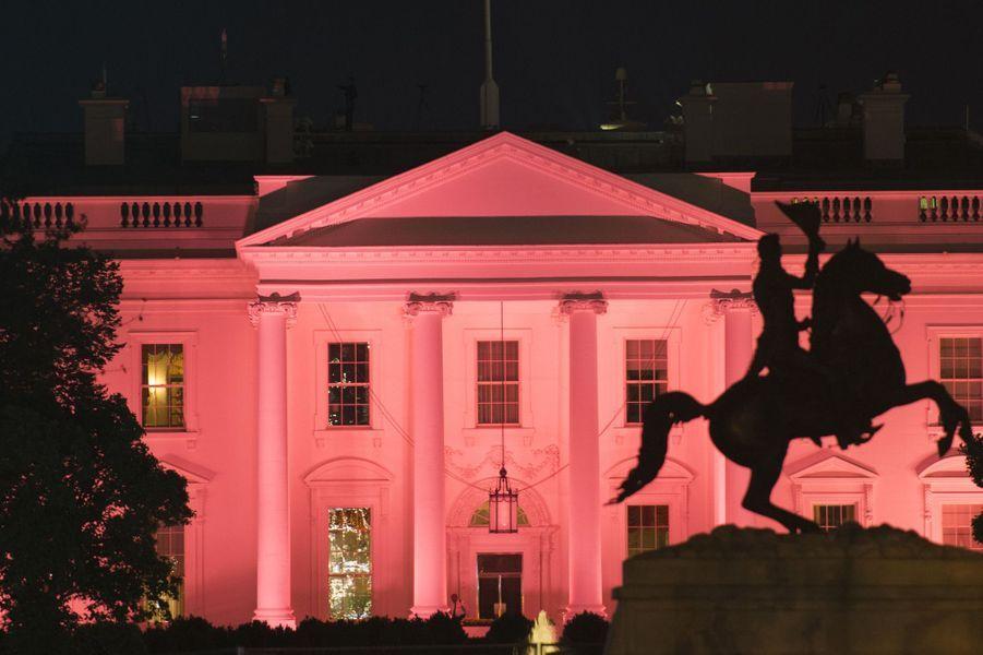 La Maison Blanche illuminée en rose pour Octobre rose, le 1er octobre 2017.