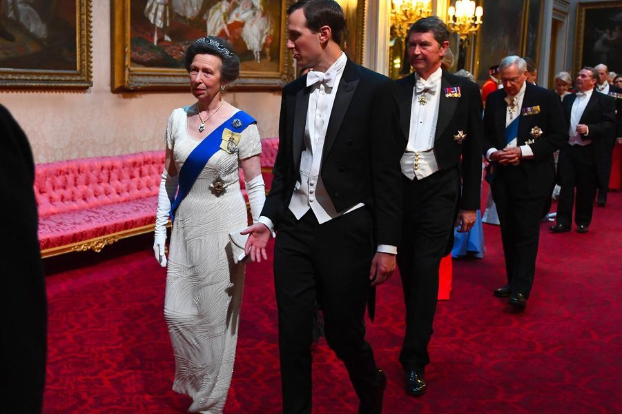 La princesse Anne et Jared Kushner à Buckingham Palace, le 3 juin 2019.