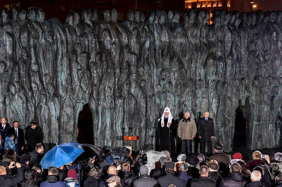 Inauguration du mémorialen hommage aux victimes des répressions politiques, le 30 octobre 2017 à Moscou