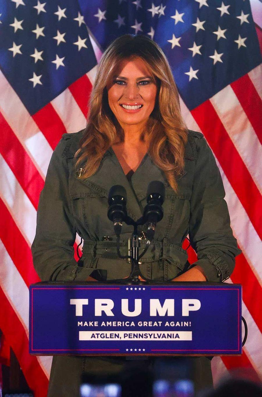 Melania Trump a participé à deux événements de campagne en Pennsylvanie, le 27 octobre 2020.