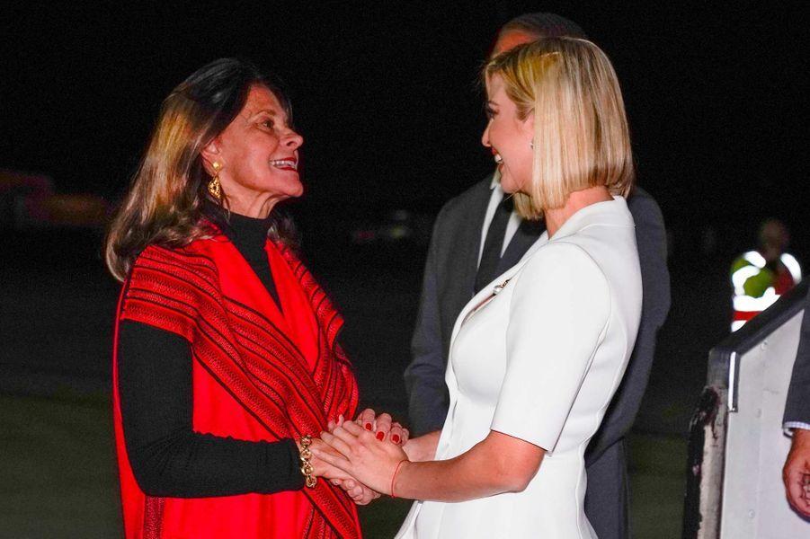 Ivanka Trump accueillie en Colombie par la vice-présidente Marta Lucía Ramírez, le 3 septembre 2019.