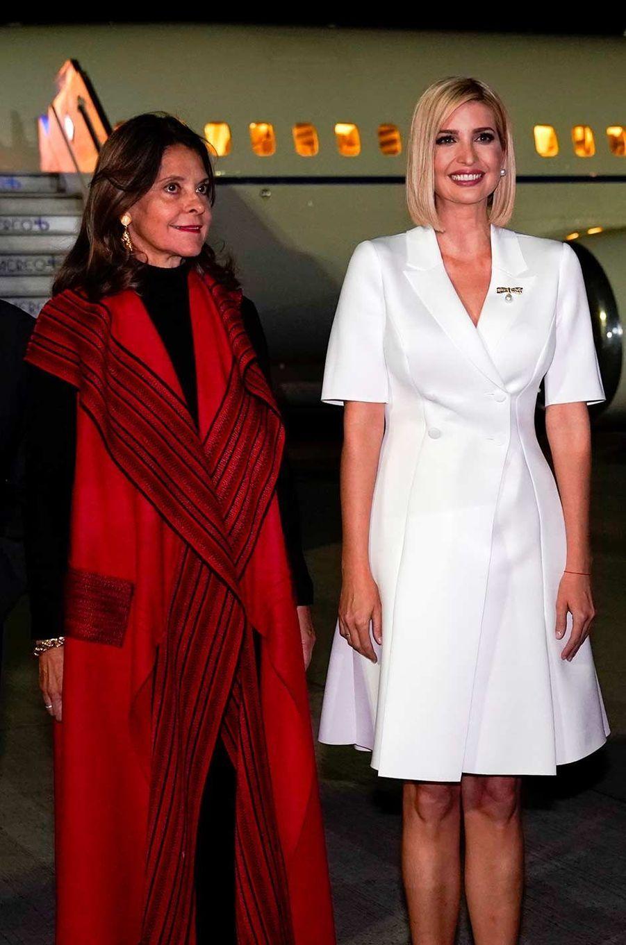 Ivanka Trump accueillie en Colombie par la vice-présidenteMarta Lucía Ramírez, le 3 septembre 2019.