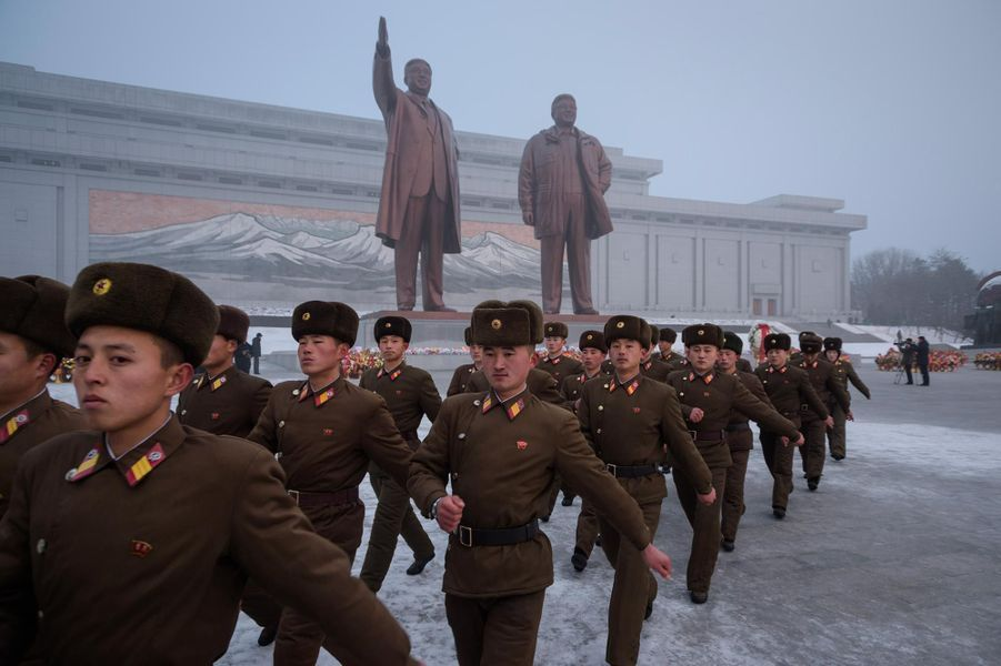 Commémorations pour le septième anniversaire de la mort de Kim Jong-il, à Pyongyang, le 18 décembre 2018.