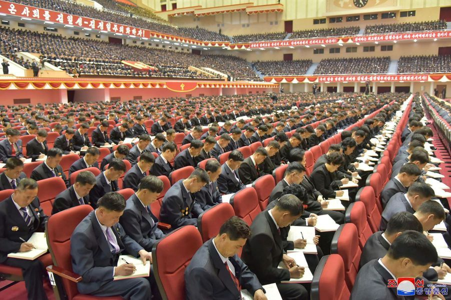 Rassemblement du Parti des travailleurs de Corée à Pyongyang, le 23 décembre 2017.