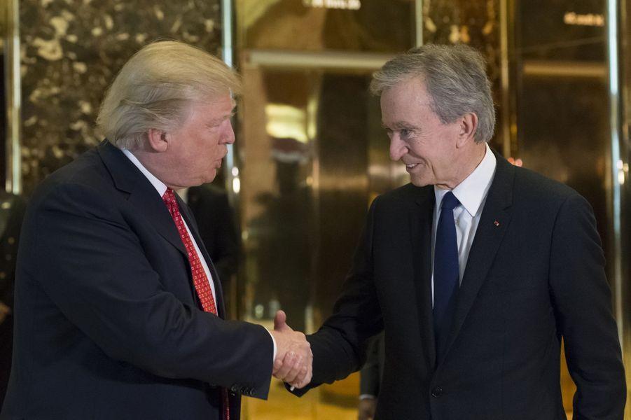 Donald Trump et Bernard Arnault à la Trump Tower, le 9 janvier 2017.