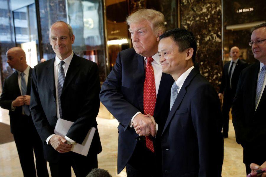 Donald Trump et Jack Ma à la Trump Tower, le 9 janvier 2017.
