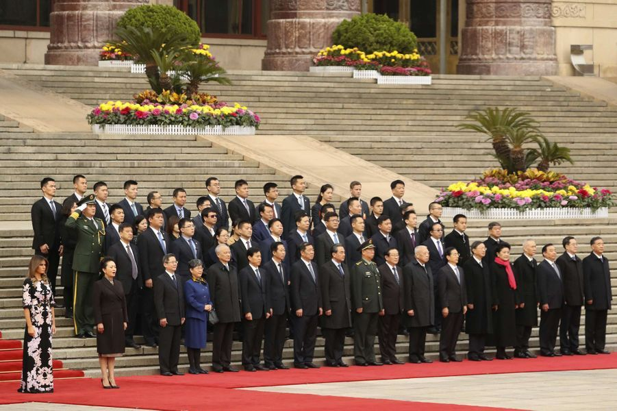 Melania et Donald Trump avec Xi Jinping et Peng Liyuan à Pékin, le 9 novembre 2017.