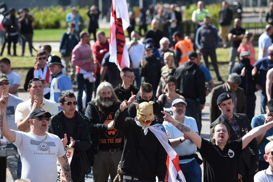 Manifestation de l'English Defence League à Birmingham, le 8 avril 2017.