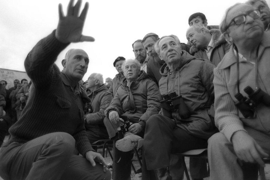 Yitzhak Navon, Shimon Peres, Yitzhak Rabin et Moshe Levy, le 4 décembre 1985.