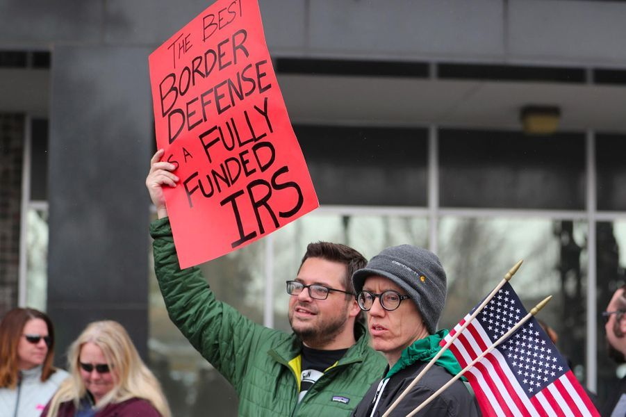 Manifestation d'employés des impôts àOgden, dans l'Utah, le 10 janvier 2019.