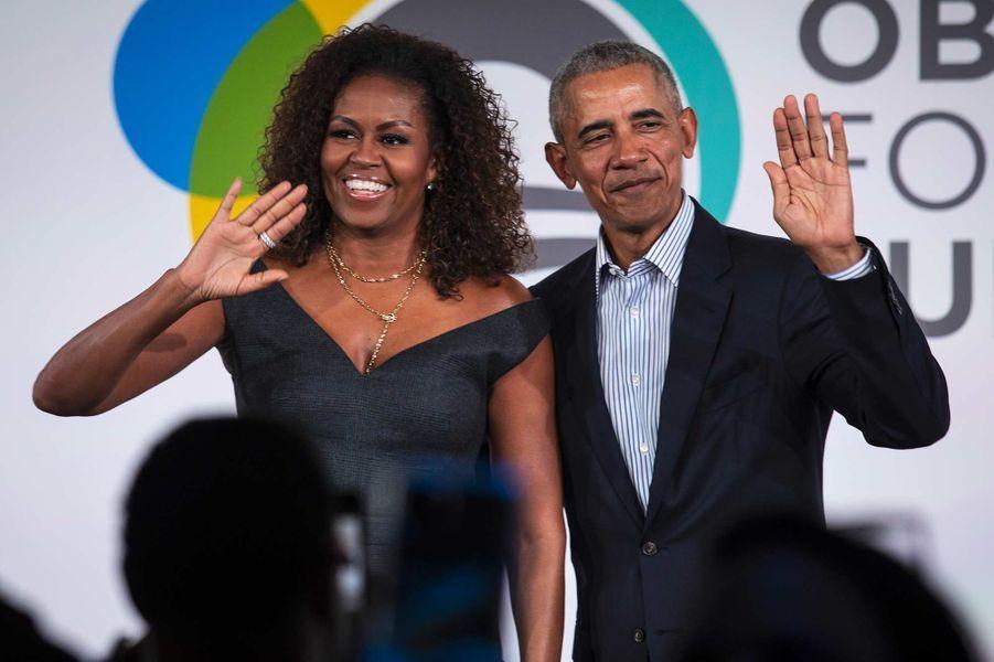 Michelle et Barack Obamaà Chicago, le 29 octobre 2019.