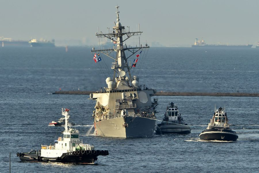 Le «Fitzgerald» a été remorqué jusqu'à son port d'attache, à Yokosuka, dans l'est du Japon.