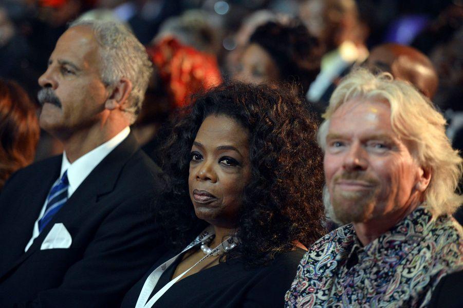 L'animatrice américaine Oprah Winfrey, aux côtés du fondateur de Virgin, Richard Branson