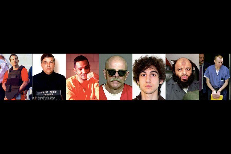Les détenus notoires de ADX Florence. De g. à dr. : Eric Rudolph (bombe aux JO d'Atlanta) ; Robert Hanssen (agent double) ; Luis Felipe (chef du King Blood Gang) ; Barry Mills (chef du gang Aryan Brotherhood, mort en 2018) ; Djokhar Tsarnaev (attentat du marathon de Boston) ; Zacarias Moussaoui (seul condamné pour les attentats du 11 septembre) ; Dr Michael Swango (tueur en série).