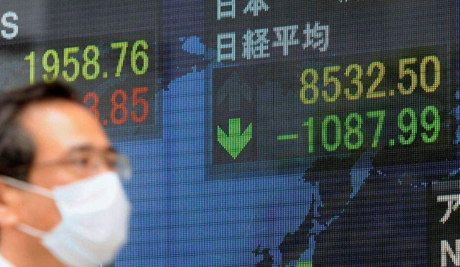 Sans surprise, l'indice Nikkei de la Bourse de Tokyo s'est effondré de 10,55%,